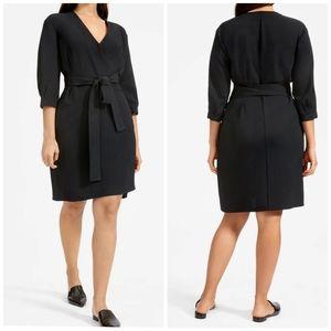 Everlane Japanese GoWeave Mini Black Wrap Dress 12